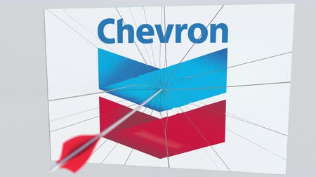arıza : CHEVRON company logo being cracked by archery arrow. Corporate problems conceptual editorial animation Stok Video
