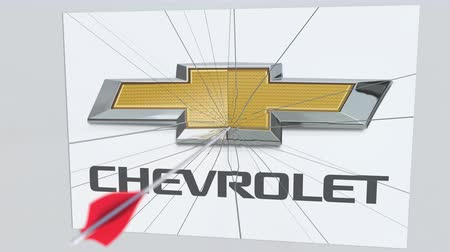 criticism : CHEVROLET company logo being hit by archery arrow. Business crisis conceptual editorial animation