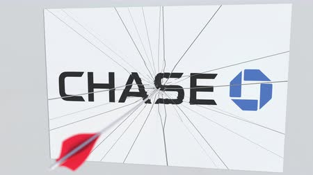criticism : CHASE company logo being cracked by archery arrow. Corporate problems conceptual editorial animation Stock Footage