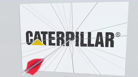 culpa : CATERPILLAR company logo being cracked by archery arrow. Corporate problems conceptual editorial animation