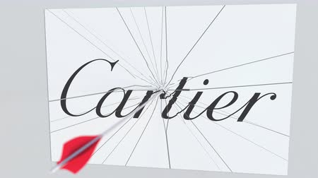 criticism : Archery arrow hits plate with CARTIER logo. Corporate problems conceptual editorial animation