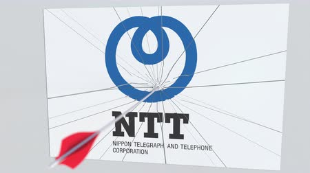 assalto : Archery arrow hits plate with NTT logo. Corporate problems conceptual editorial animation