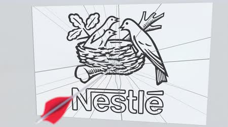 criticism : Archery arrow breaks glass plate with NESTLE company logo. Business issue conceptual editorial animation