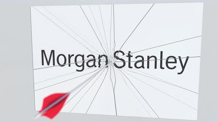 redazione : Archery arrow hits plate with MORGAN STANLEY logo. Corporate problems conceptual editorial animation Filmati Stock