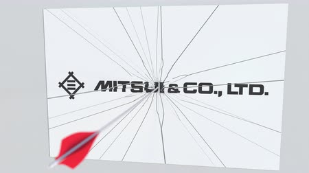 criticism : Archery arrow breaks glass plate with MITSUI company logo. Business issue conceptual editorial animation