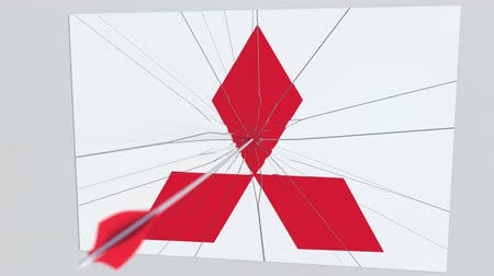 tiro com arco : MITSUBISHI company logo being cracked by archery arrow. Corporate problems conceptual editorial animation Stock Footage
