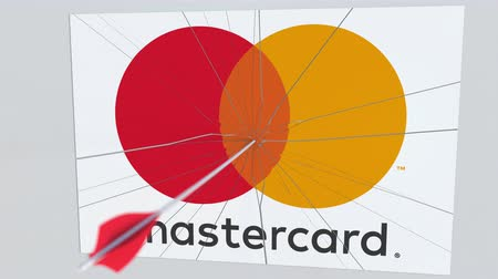 redazione : MASTERCARD company logo being cracked by archery arrow. Corporate problems conceptual editorial animation