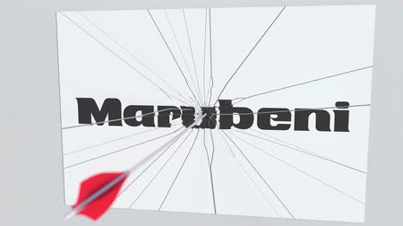 criticism : Archery arrow hits plate with MARUBENI logo. Corporate problems conceptual editorial animation Stock Footage