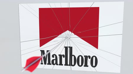 criticism : Archery arrow hits plate with MARLBORO logo. Corporate problems conceptual editorial animation Stock Footage