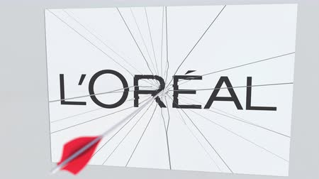 criticism : LOREAL company logo being hit by archery arrow. Business crisis conceptual editorial animation