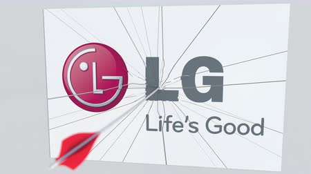 criticism : Archery arrow hits plate with LG logo. Corporate problems conceptual editorial animation