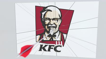 culpa : KFC company logo being hit by archery arrow. Business crisis conceptual editorial animation