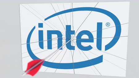criticism : INTEL company logo being cracked by archery arrow. Corporate problems conceptual editorial animation