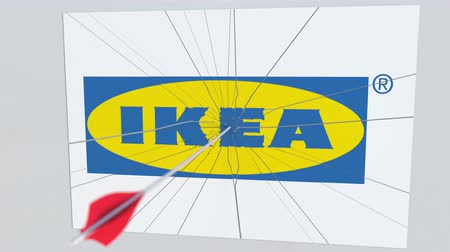acabamento : Archery arrow hits plate with IKEA logo. Corporate problems conceptual editorial animation