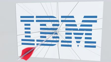 criticism : IBM company logo being cracked by archery arrow. Corporate problems conceptual editorial animation