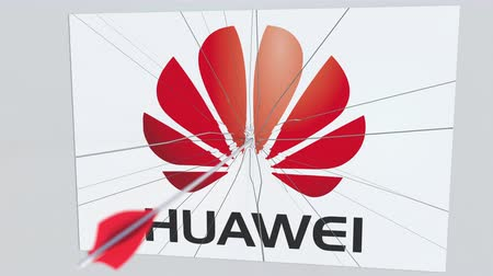 tiro com arco : Archery arrow hits plate with HUAWEI logo. Corporate problems conceptual editorial animation Stock Footage