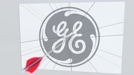 general electric : Archery arrow breaks glass plate with GENERAL ELECTRIC company logo. Business issue conceptual editorial animation
