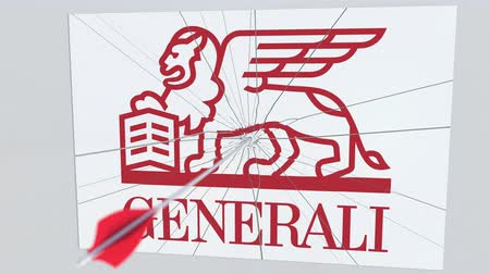 sıkıntı : GENERALI company logo being hit by archery arrow. Business crisis conceptual editorial animation Stok Video