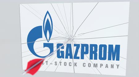 nyíl : GAZPROM company logo being hit by archery arrow. Business crisis conceptual editorial animation