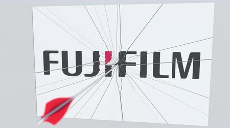 criticism : FUJIFILM company logo being hit by archery arrow. Business crisis conceptual editorial animation