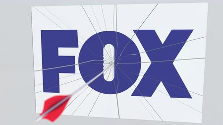 criticism : Archery arrow hits plate with FOX logo. Corporate problems conceptual editorial animation