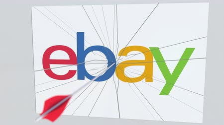 criticism : EBAY company logo being hit by archery arrow. Business crisis conceptual editorial animation