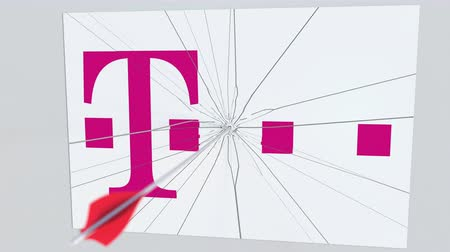 criticism : T TELEKOM company logo being hit by archery arrow. Business crisis conceptual editorial animation Stock Footage