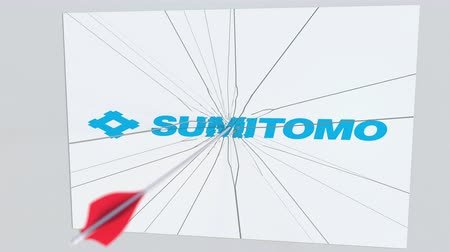 criticism : SUMITOMO company logo being hit by archery arrow. Business crisis conceptual editorial animation Stock Footage