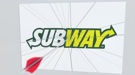 lukostřelba : Archery arrow hits plate with SUBWAY logo. Corporate problems conceptual editorial animation