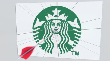 criticism : Archery arrow hits plate with STARBUCKS logo. Corporate problems conceptual editorial animation