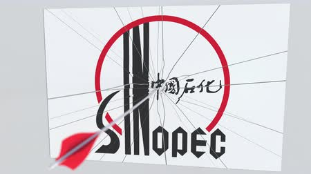 culpa : SINOPEC company logo being hit by archery arrow. Business crisis conceptual editorial animation