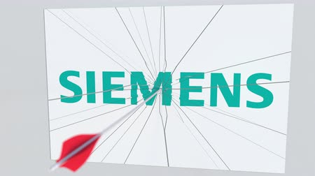 criticism : SIEMENS company logo being hit by archery arrow. Business crisis conceptual editorial animation