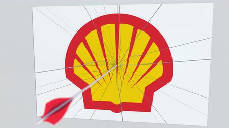 criticism : SHELL company logo being cracked by archery arrow. Corporate problems conceptual editorial animation Stock Footage