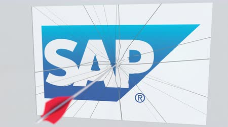 criticism : SAP company logo being cracked by archery arrow. Corporate problems conceptual editorial animation Stock Footage