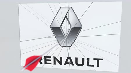 criticism : RENAULT company logo being cracked by archery arrow. Corporate problems conceptual editorial animation Stock Footage