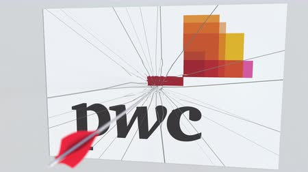 culpa : Archery arrow hits plate with PWC logo. Corporate problems conceptual editorial animation