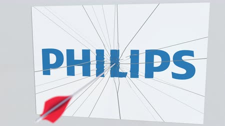 criticism : Archery arrow hits plate with PHILIPS logo. Corporate problems conceptual editorial animation