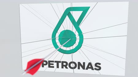 criticism : Archery arrow breaks glass plate with PETRONAS company logo. Business issue conceptual editorial animation Stock Footage