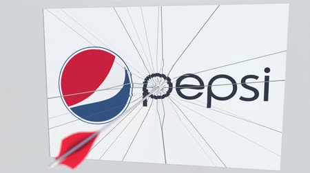 criticism : PEPSI company logo being cracked by archery arrow. Corporate problems conceptual editorial animation