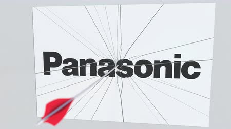criticism : PANASONIC company logo being hit by archery arrow. Business crisis conceptual editorial animation