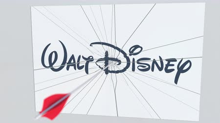 criticism : WALT DISNEY company logo being cracked by archery arrow. Corporate problems conceptual editorial animation Stock Footage