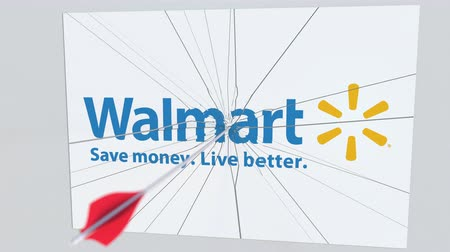 criticism : Archery arrow hits plate with WALMART logo. Corporate problems conceptual editorial animation
