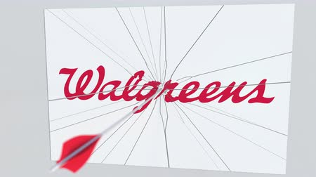 criticism : Archery arrow hits plate with WALGREENS logo. Corporate problems conceptual editorial animation Stock Footage