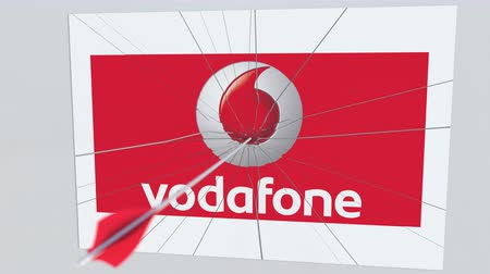 culpa : VODAFONE company logo being hit by archery arrow. Business crisis conceptual editorial animation