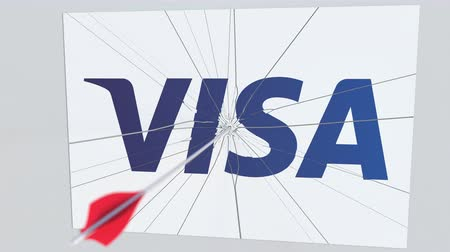arıza : VISA company logo being cracked by archery arrow. Corporate problems conceptual editorial animation Stok Video