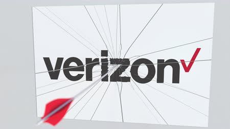 acabamento : VERIZON company logo being hit by archery arrow. Business crisis conceptual editorial animation