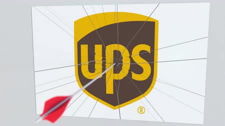 criticism : Archery arrow breaks glass plate with UPS company logo. Business issue conceptual editorial animation