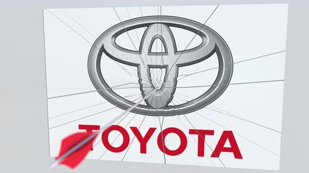 criticism : Archery arrow hits plate with TOYOTA logo. Corporate problems conceptual editorial animation