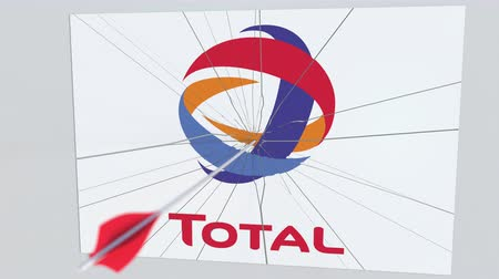 celkový : Archery arrow hits plate with TOTAL logo. Corporate problems conceptual editorial animation