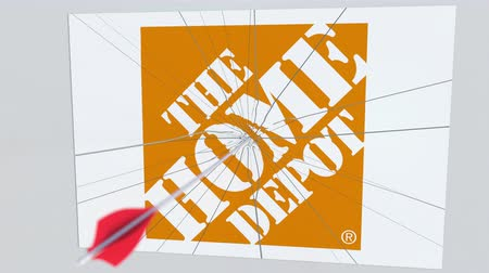criticism : THE HOME DEPOT company logo being cracked by archery arrow. Corporate problems conceptual editorial animation